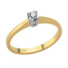 Помолвочное кольцо с 1 бриллиантом 0,09 ct 4/5 желтое белое золото 750°, артикул R-TRN04953-001