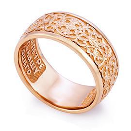Кольцо с молитвой Петру и Февронии из розового золота 585°, артикул R-KLZ0501-3