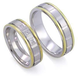 Обручальные кольца  с бриллиантами из белого и желтого золота 585 пробы, артикул R-ТС 3779