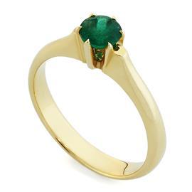 Кольцо с 1 изумрудом 0,48 ct 3/3 из желтого золота 585°, артикул R-НП 006И-1