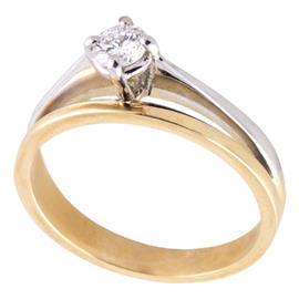 Помолвочное кольцо с 1 бриллиантом 0,21 ct 4/4 розовое белое золото 585°, артикул R-НП 050