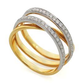 Кольцо с 42 бриллиантами 0,49 ct 4/5  желтое золото 750°, артикул R-MR010972