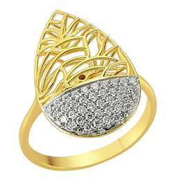 Кольцо из желтого золота 750 пробы с бриллиантами, артикул R-80932