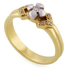 Кольцо из желтого и белого золота 585 пробы с 1 бриллиантом 0,06 карат и 6 бриллиантами 0,06 карат