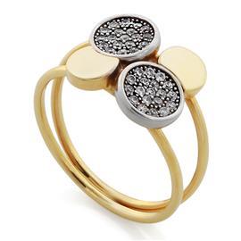Кольцо с цирконами из желтого золота 585°, артикул R-GT-8852-1