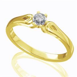 Помолвочное кольцо с 1 бриллиантом 0,19 ct 4/5  из желтого золота 585°, артикул R-D40074-1