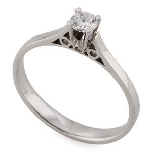 Помолвочное кольцо с 1 бриллиантом 0,19 ct 2/3 белое золото 585°, арт. R-YZ33877-1
