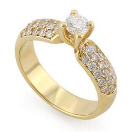 Помолвочное кольцо с 33 бриллиантами 0,73 ct (центр 1 бриллиант 0,25 ct 5/5 и 32 бриллианта 0,48 ct 4/5  из желтого золота 585°, артикул R-L1929-1 0.25