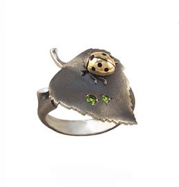 Кольцо серебряный Берёзовый Лист серебро 925°, артикул R-137006