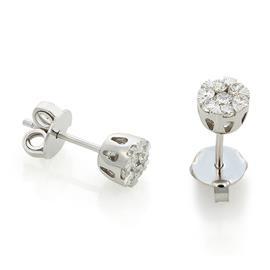 Серьги-пусеты с 14  бриллиантами 0,44 ct 3/5 из белого золота  750°, артикул R-TEA07558-02