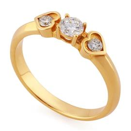 Помолвочное кольцо с 3 бриллиантами (центр 1 бриллиант 0,30 ct 2/4, 2 бриллианта боковые 0,10 ct 3/5) розовое золото 585° сертификат IGI, артикул R-НП0012-3