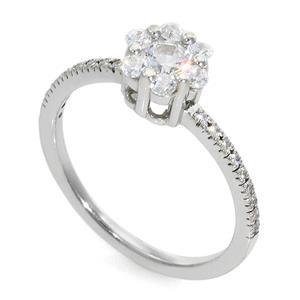 Кольцо с бриллиантами 0,50 ct (центр 0,25 ct 4/5, боковые 0,25 ct 4/5) белое золото 585°, арт. R-КК 042025
