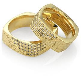 Обручальные кольца с бриллиантами из золота 585 пробы, артикул R-А4752