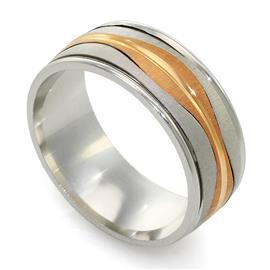 Обучальное кольцо из белого и розового золота 585 пробы, артикул R-ДА 001