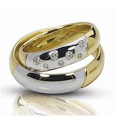 Обручальные кольца парные с бриллиантами из золота 585 пробы, артикул R-ТС 17011