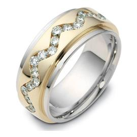 Обручальное кольцо с бриллиантами, артикул R-1639
