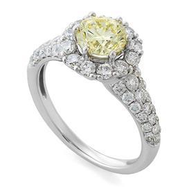 Помолвочное кольцо с 1 желтым бриллиантом 1,04 ct фэнтази/3 F6C3113  1,04 fancy/VVS2, центр (48 бриллиантов 0,85 ct3/4) белое золото  750° сертификат IGI, артикул R-ROO8817-2