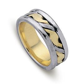 Обручальное кольцо из двухцветного золота 585 пробы, артикул R-ДК 022