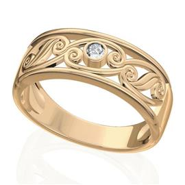 Обручальное кольцо дизайнерское из розового золота с бриллиантом, артикул R-W45388-3