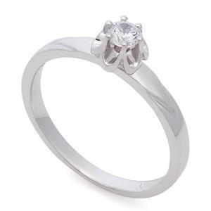 Кольцо с бриллиантом 0,15 ct 4/5 белое золото 585°, арт. R-КК 039015