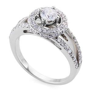 Кольцо с бриллиантами 1,10 ct (центр 0,40 ct 4/5, боковые 0,70 ct 4/5) белое золото 585°, арт. R-КК 044040