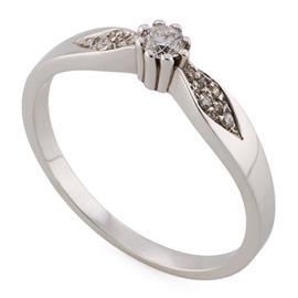 Кольцо с 1 бриллиантом 0,10 карат и 8 бриллиантами 0,06 карат