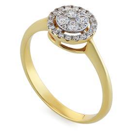 Кольцо с 4 бриллиантами 0,15 ct 3/4 и 25 бриллиантами 0,14 ct 3/4 из желтого золота 750°, артикул R-DRN11916-15