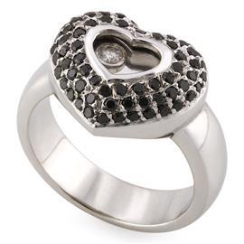 Кольцо из белого золота 750 пробы с 1 бриллиантом 0,05 карат и 71 черным бриллиантом  0,75 карат, артикул R-YZO0863