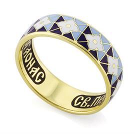 Венчальное кольцо с молитвой к преподобному Серафиму Саровскому, артикул КЗЭ0303