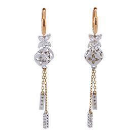 Серьги с бриллиантами из белого и розового золота 750 пробы, артикул R-СА335