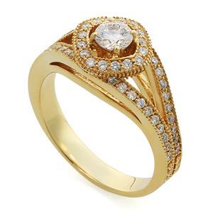 Кольцо с бриллиантами 0,75 ct (центр 0,36 ct 4/6, боковые 0,39 ct 4/6) желтое золото 585°, арт. R-НП 043-1