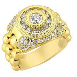 Кольцо из желтого золота 750 пробы с бриллиантами, артикул 80924