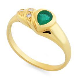Кольцо с 1 изумрудом 0,28 ct 3/3  и с 3 бриллиантами 0,035 ct 3/4 из желтого золота 750°, артикул R-1431
