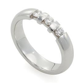 Обручальное кольцо с 3 бриллиантами из белого золота 585 пробы, артикул R-10030