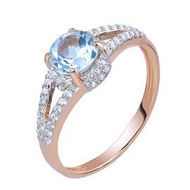 Кольцо с топазом из розового золота 585°, артикул R-5-641-403-1Т
