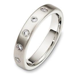 Обручальное кольцо с бриллиантами из белого золота 585 пробы, артикул R-3030