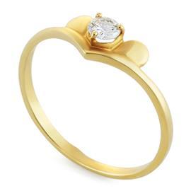 Кольцо с 1 бриллиантами 0,18 ct 3/5 из желтого золота 750°, артикул R-6408 (612639)