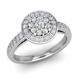 Кольцо с 1 бриллиантом 0,07 ct 4/5 и 42 бриллиантами 0,43 ct 4/5 из белого золота 585°, артикул R-D47121-2