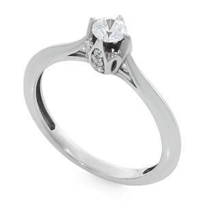 Кольцо с бриллиантами 0,28 ct (центр 0,25 ct 4/5, боковые 0,03 ct 4/5) белое золото 585°, арт. R-КК 041025