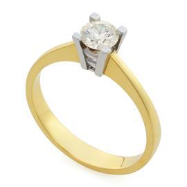 Помолвочное кольцо с 1 бриллиантом 0,50 ct 6/6 желтое и белое золото 750°, артикул R-0008