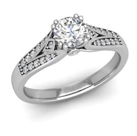 Кольцо с 1 бриллиантом 0,45 ct 4/5 и 30 бриллиантами 0,13 ct 4/5 из белого золота 585°, артикул R-D47084-2
