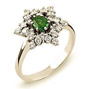 Кольцо из белого золота 750 пробы с  24 бриллиантами 0,59 карат и  изумрудом, артикул ERN01512-02