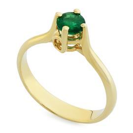 Кольцо с 1 изумрудом 0,52 ct 3/3 из желтого золота 585°, артикул R-НП 015И-1