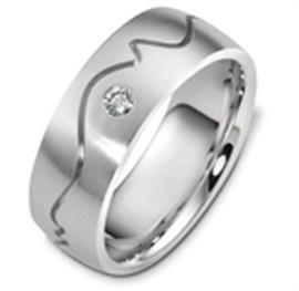 Обручальное кольцо с бриллиантом из белого золота 585 пробы, артикул R-2453-1