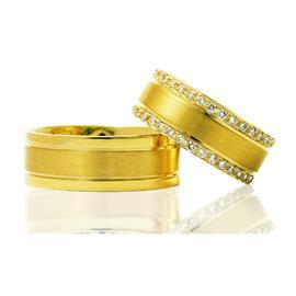 """Обручальные кольца парные из желтого золота с бриллиантами. Серия  """"Twin set"""", артикул R-ТС 3267"""