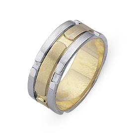 Обручальное кольцо из двухцветного золота 585 пробы, артикул R-СЕ031