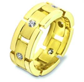 Обручальное кольцо с бриллиантами из желтого золота 585 пробы, артикул R-2493