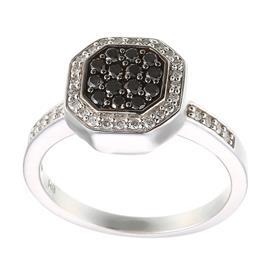 Кольцо с 32 бриллиантами 0,16 ct 2/3, 14 бриллиантов чёрных 0,28 ct  из белого золота 585°, артикул R-00700053756