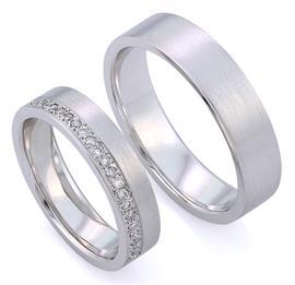 Обручальные кольца  с бриллиантами из белого золота 585 пробы, артикул R-ТС А3634