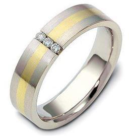 Обручальное кольцо с бриллиантами из белого и желтого золота 585 пробы, артикул R-1855